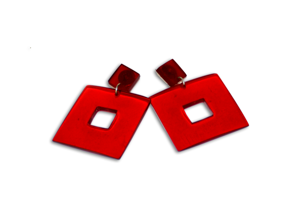 Manouk ff057-1 Square Red Oorbellen