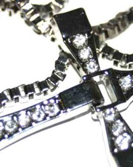 AA012 Ketting Strass Cross