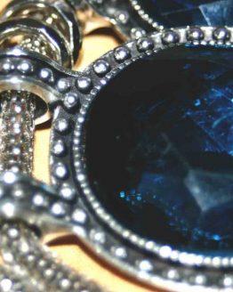 bijoux / ketting / strass / blauw / zilver