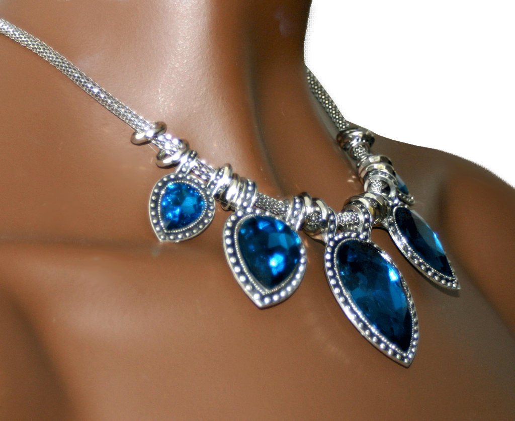 mahal/ bijoux / ketting / strass / blauw / zilver