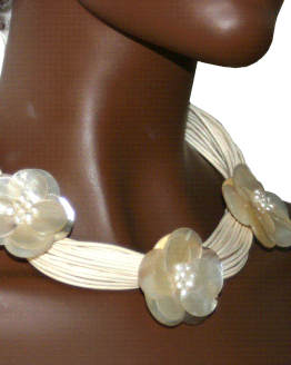 Manouk s201-1 Pearl Flower Ketting / Bijoux / Statement