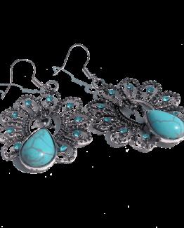 Turquoise Pauw / bijoux / oorbel / blauw