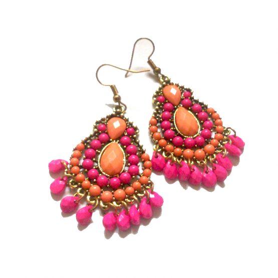 Bocolor Oorbellen / Bijoux / Haakjes -meerkleurig roze-oranje