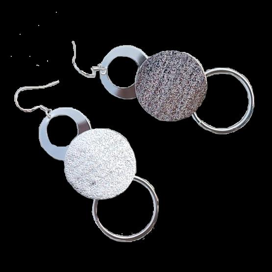 Triple Ring Oorbellen / Sieraad / Verzilverd / Haakjes
