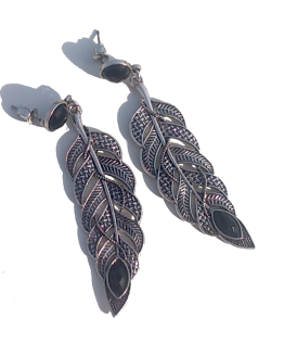 black_feather Oorbellen / bijoux / bohemian / earring / zilver
