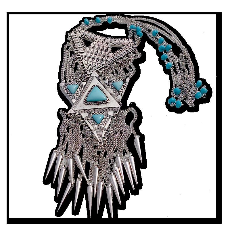 Boho Turquoise Ketting / Bijoux / Vintage / Tibet / zilver / Statement