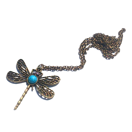 libelle ketting / bijoux / brons / turkoois