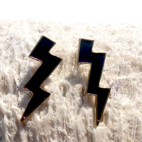 Black Lightning Oorbellen / bijoux / gothic / stoer / zwart