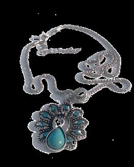 Turquoise Pauw Ketting / bijoux / bohemian - boho / strass