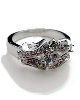 Strass Ring Silver / bijoux / one-size / strass