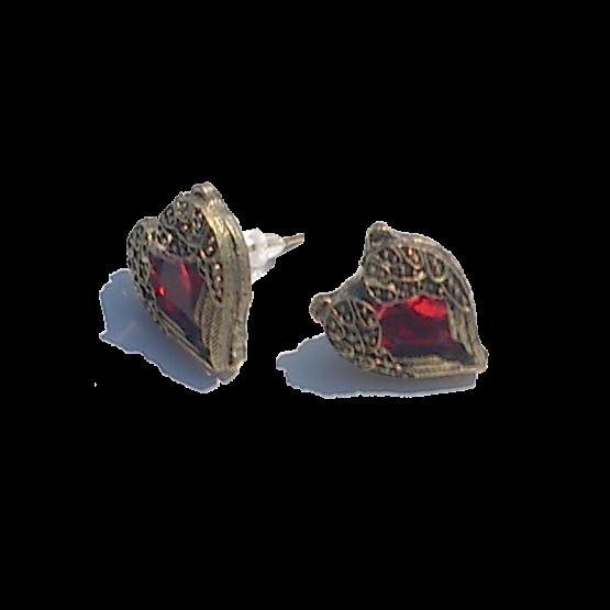 Red Heart Oorbellen / bijoux / betaalbaar / stopper / goud - rood / bohemian