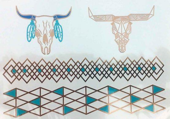 Patroon 12 / Tijdelijke Tattoo / Tatoeagestickers /Bohemian / Tribal / meerkleurig /