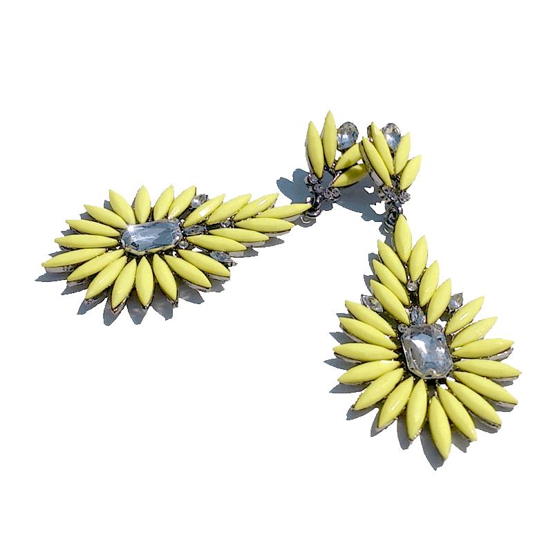 Summertime Oorbellen / bijoux / geel - yellow / groot / strass