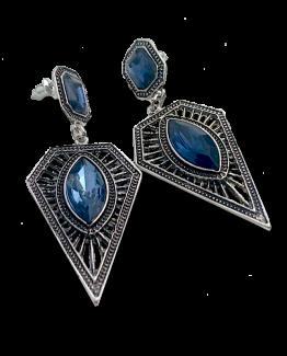 Boleslava Blauw Oorbellen / bijoux / boho / groot / zilver