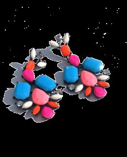 Multicolour Oorbellen / bijoux / budgetline / meerkleurig / zwarte setting