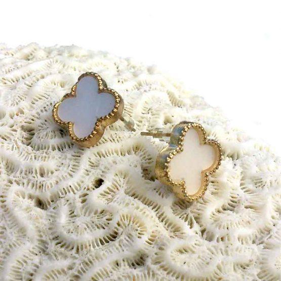 Clover4 Oorbellen / bijoux / wit / earring / budgetline