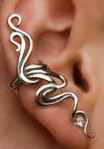 Cuff Oorbel Twirl / bijoux / strass / zilver / boho