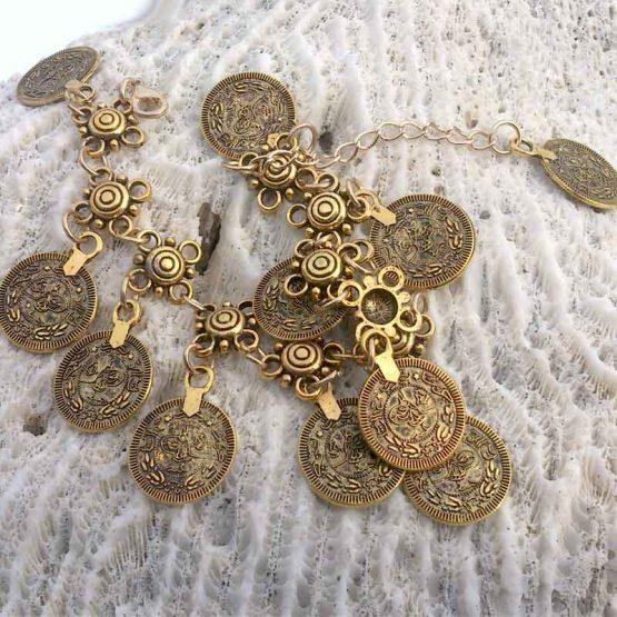 Boho Enkelbandje Munten / bijoux / bohemian / goud