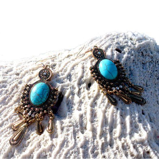 Boho Bronze Oorbellen / Bijoux / Bohemian / turquoise