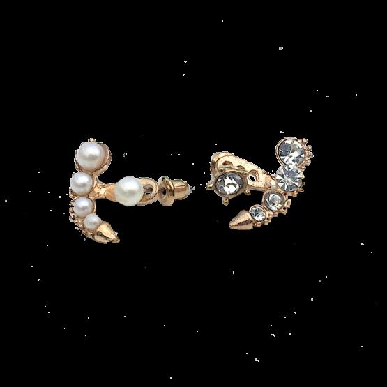 Oorbellen Pearl-Diamond / bijoux / asymmetrisch / goud