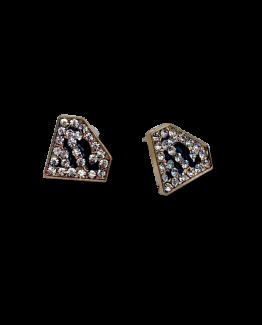 Supervrouw Oorbellen / bijoux / goud-zwart / strass