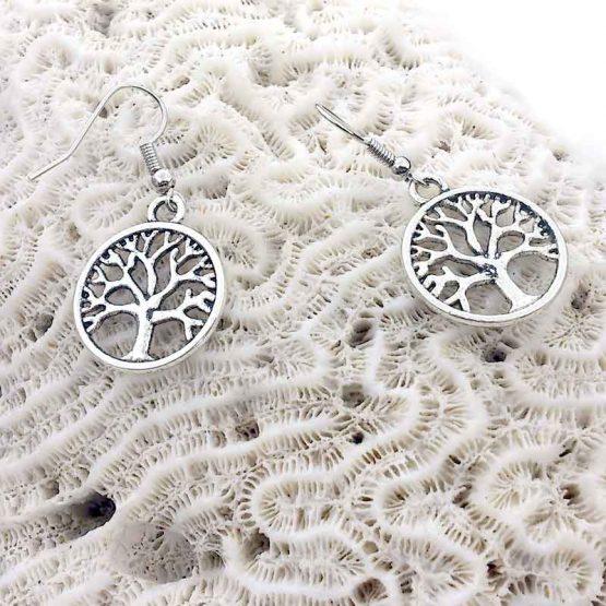 Oorbellen Tree of Life / bijoux / boho / zilverkleurig