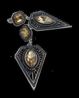 Boleslava Geel Oorbellen / bijoux / boho / groot / zilver