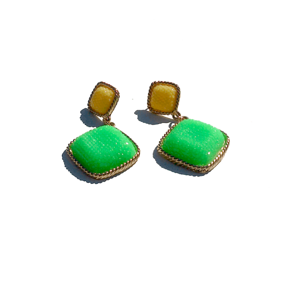 Charm Oorbellen / bijoux / budgetline / groen-geel