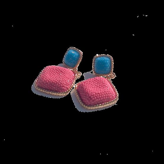 Charm Oorbellen / bijoux / budgetline / roze-blauw