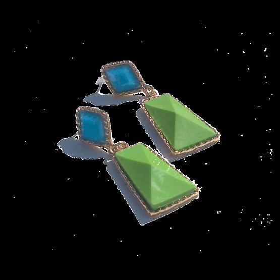 Sweety Oorbellen / bijoux / budgetline / meerkleurig / stopper / groen - blauw