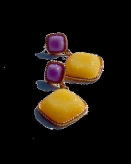 Charm Oorbellen / bijoux / budgetline / geel-paars