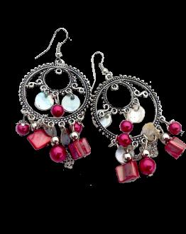 Oorbel Asli / bijoux / boho - bohemian / rood - zilver - parelmoer