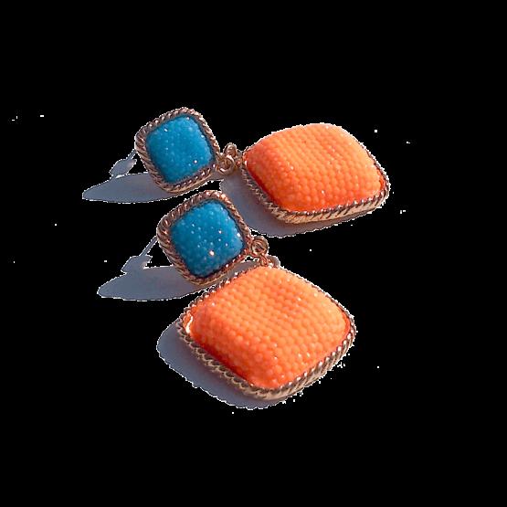 Charm Oorbellen / bijoux / budgetline / oranje-blauw