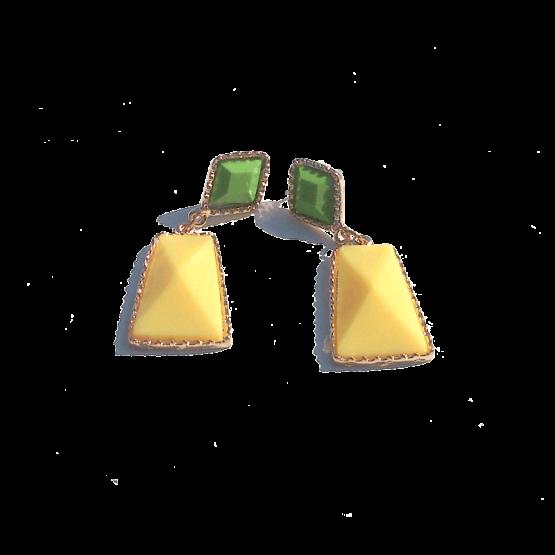 Sweety Oorbellen / bijoux / budgetline / meerkleurig / stopper / geel - groen
