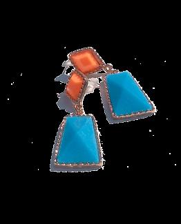 Sweety Oorbellen / bijoux / budgetline / meerkleurig / stopper / blauw - oranje