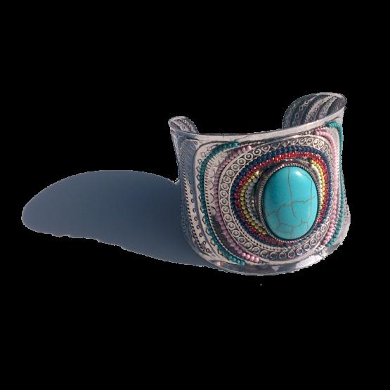 Big Stone Boho Armband / bijoux / bohemian / turquoise / zilver