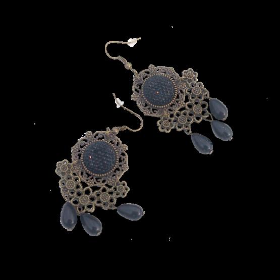 Bronze Boho Oorbellen / bijoux / haakjes / zwart - brons