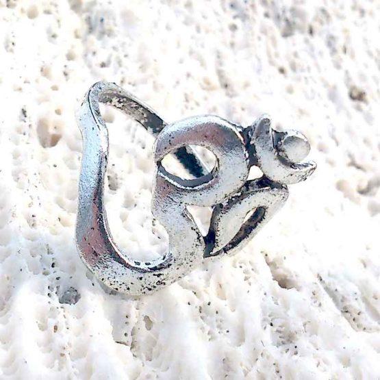 ohm ring groot / bijoux / hindu / zilver