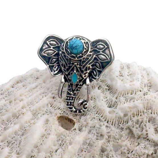 Dombo Ring / bijoux / boho - bohemian / turquoise - zilver