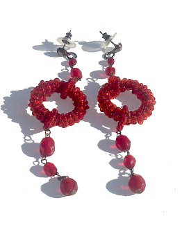Manouk r006-2 Catharina Oorbellen / bijoux / manouk / rood