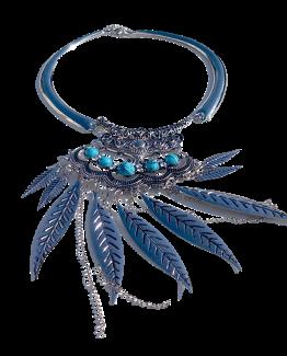 Ketting Janis / bijoux / boho - bohemian / zilver - turquoise