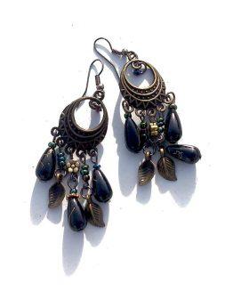 Bronze Beads Oorbellen / bijoux / boho - bohemian / zwart - brons