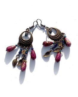 Bronze Beads Oorbellen / bijoux / boho - bohemian / rood - brons