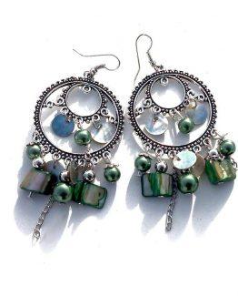 Oorbel Asli / bijoux / boho - bohemian / groen - zilver - parelmoer