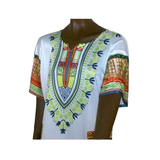 Dashiki White / unisex / polyester / wit - meerkleurig