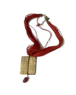 Manouk ee079-1 Script Ketting / bijoux / rood - koper