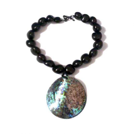 Manouk ketting Oyster l151-1a / bijoux - statement / parelmoer - zwart