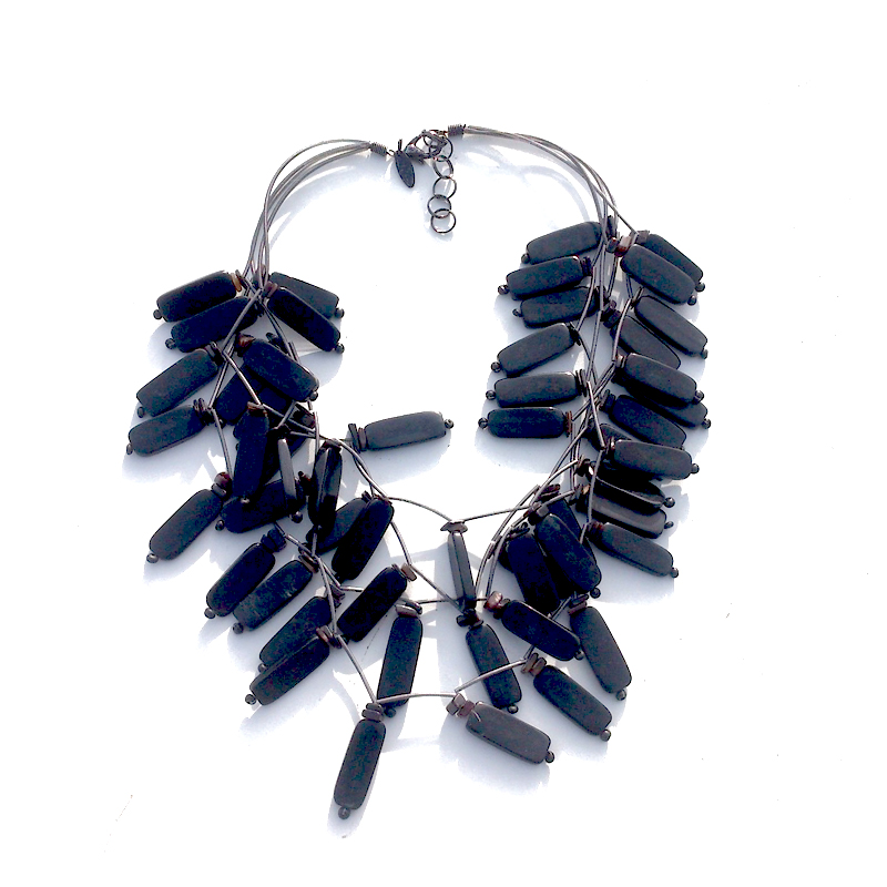 Manouk r155-1 Ketting blackbeads / bijoux / zwart