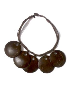 Manouk s193-1 5 disc brown Ketting / bijoux / bruin - hout