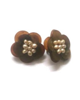Manouk Pearl Flower s230-3 / bijoux / bruin - parelmoer